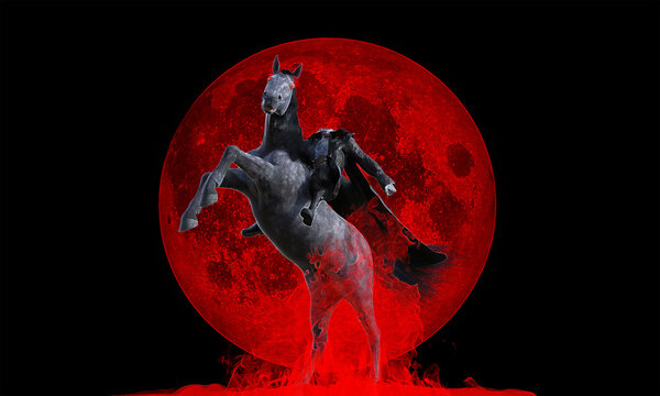 3d illustration of a Headless Figure riding horse against red moon