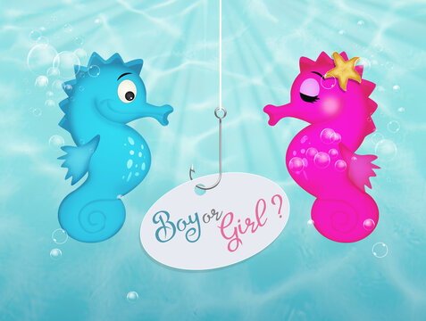 Gender reveal party invitation template with seahorses male and female