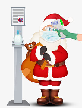 illustration of Santa Claus with coronavirus safety devices