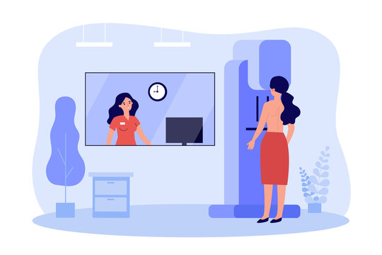 Woman doing breast examination in clinic flat vector illustration. Cartoon doctor taking mammogram on machine for cancer diagnostics. Mammography and technology concept