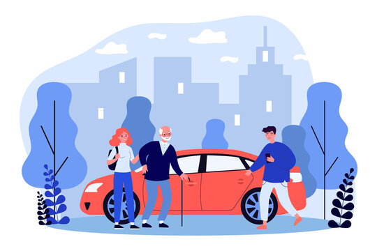 Young people helping aged person with sitting down in taxi. Assistance, trip. Flat vector illustration. Driver service concept can be used for presentations, banner, website design, landing web page