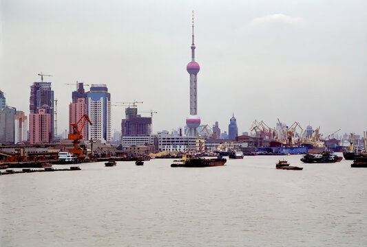Shanghai, China - Oct 13, 1996: The Oriental Pearl tower and PudongNewArea, Shanghai in 1990s