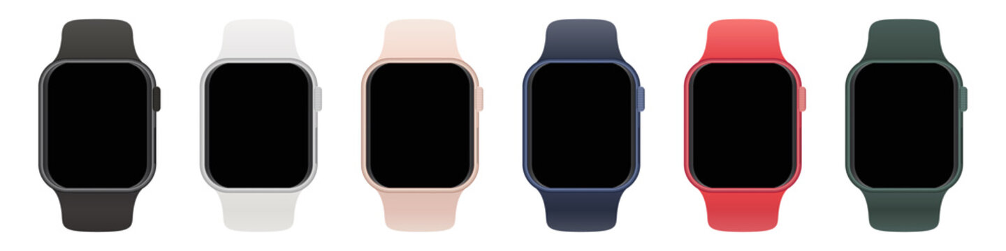 Set of smart watches with different straps with blank screen