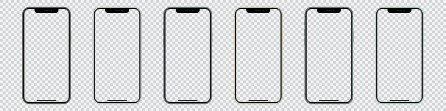 Set of Iphone smartphones in different colors with blank screen