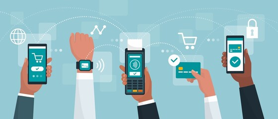 Electronic cashless payments and secure transactions - fototapety na wymiar