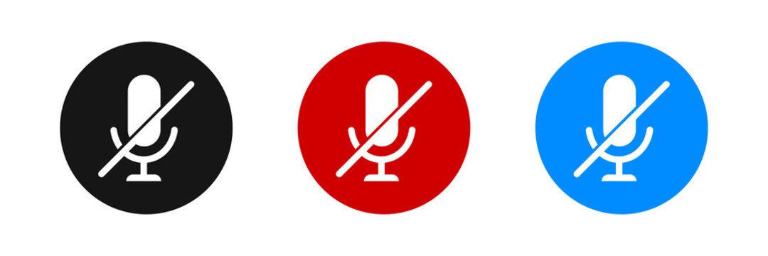 Mute microphone vector icon set. Flat audio mic symbol.