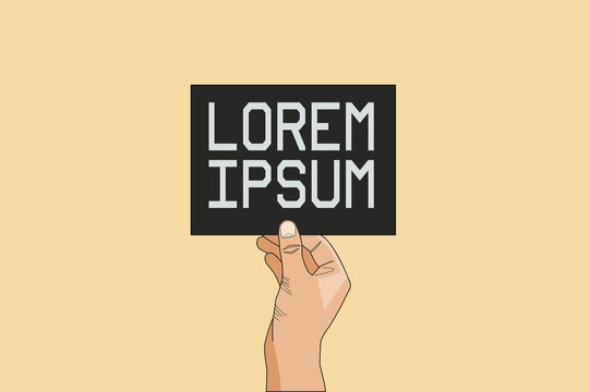 """Template for a card, flyer, poster or brochure. Hand holding a card with a text """"Lorem Ipsum"""". Yellow background. Illustration"""