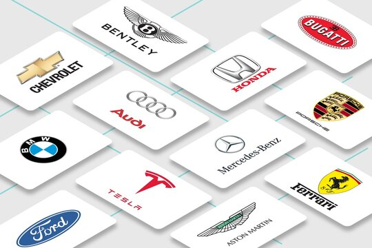 Vector illustration of multiple car manufacturer business card for editorial use. Include Bentley, Bugatti, Porsche and Ferrari
