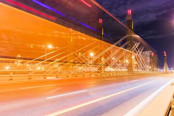 Night traffic bridge long exposure of car line lights  transport cityscape Fotomurales