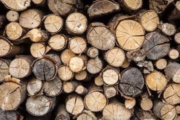 Timber stack, ends of logs for texture background. Woodpile of brown firewood, rough sawn trees with bark