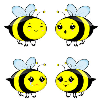 Set of four emotion bees. Use as symbol icon element emblem for children books pictures and cards. Vector illustration isolated on white background.