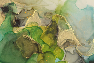 Art Abstract  watercolor flow blot painting. Color canvas marble texture background. Gold and green Alcohol ink.