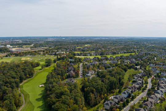 Aerial view of the Belmont County Club neighborhood in Ashburn, Loudoun County, Virginia.