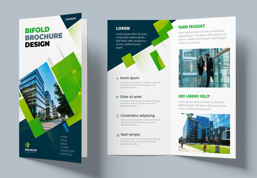 Green Bifold Brochure Layout with Rectangle Elements