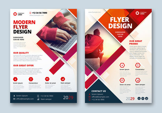 Flyer Layout with Red Layered Rectangle Shapes