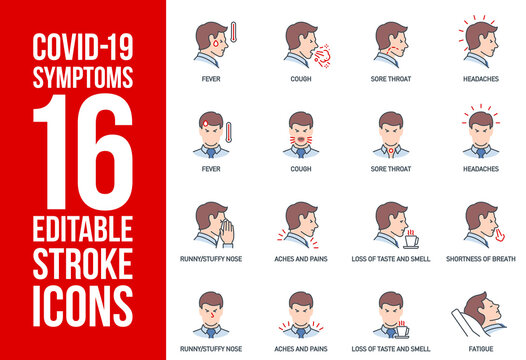 Signs and symptoms Coronavirus: fever, cough, headache, sore throat, aches and pains, loss of taste and smell, dyspnea single line icons isolated on white. outline symbols Covid. icons editable Stroke