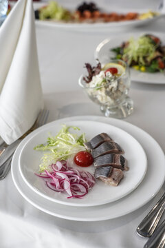 table setting, fish dishes