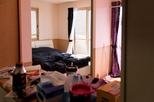 女性の一人暮らし、引っ越し。リビングからベッドルームの眺め。