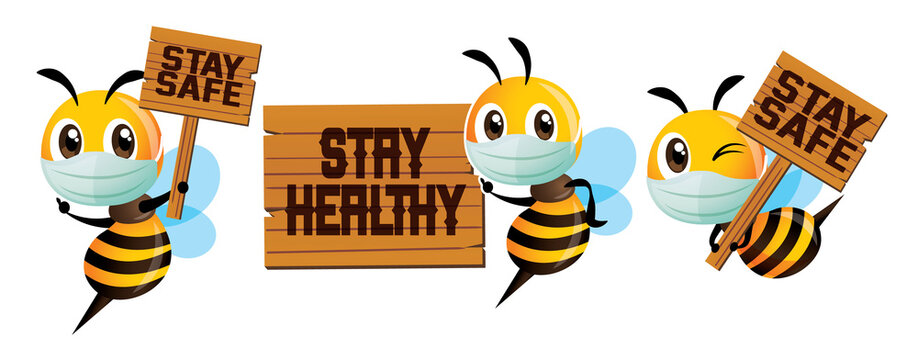 Protect yourself against virus. Cartoon cute bee wearing protective surgical mask mascot set. Cartoon cute bee holding natural wooden signboard with stay safe and healthy wording - Vector character