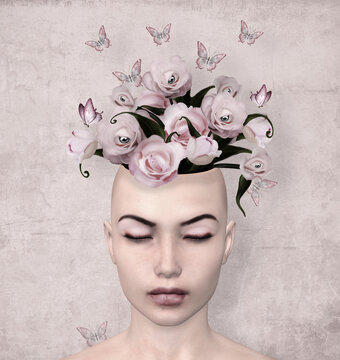 Vintage portrait of a woman with pink surreal roses on her head