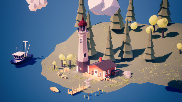 Low poly lighthouse on an island in the middle of the ocean