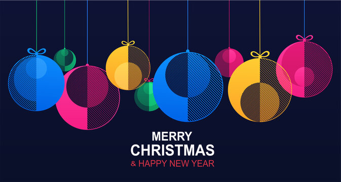Christmas and New Year banner with hanging shiny colored bauble balls. Horizontal christmas poster, website header with festive winter geometric decorations, xmas design element for card.
