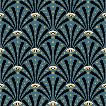 Art deco seamless pattern design with art noveau elements