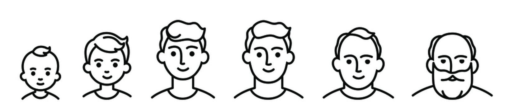Portrait of a males at different ages, preschooler kid 1-5 years old, primary school age 6-9, senior school age 10-14, 15-18, young man 19-30, average 40-50, elderly 60-80. black and white icon