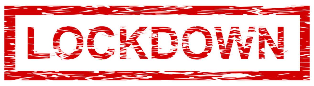 roter Ausgangssperre Banner grunge Lockdown
