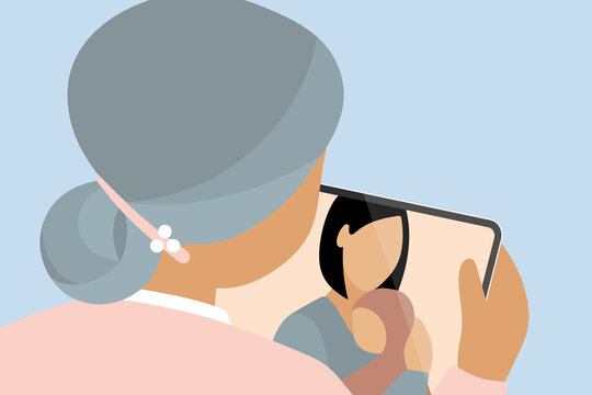 Three generations (grandmother, mother and baby) having a video call on tablet, staying connected during quarantine. Modern vector illustration.