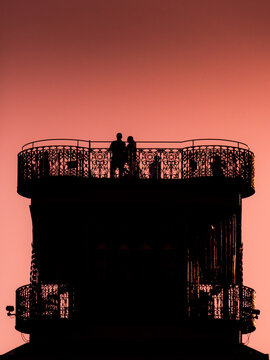 Lisbon lookout tower in sunset