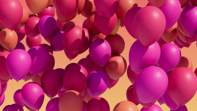 Colorful balloons rising into the in the air.
