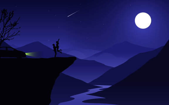 night mountain landscape with moon  couple