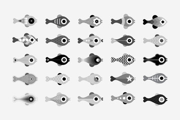 Monochrome grey isolated on a light background Fish vector icon set. Each of icon placed on a separate layer.