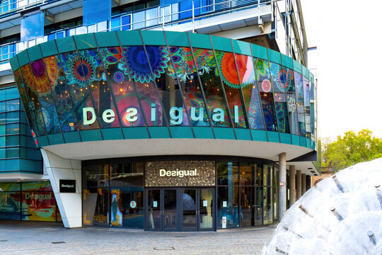 Desigual brand logo on a store front in Stuttgart, Germany