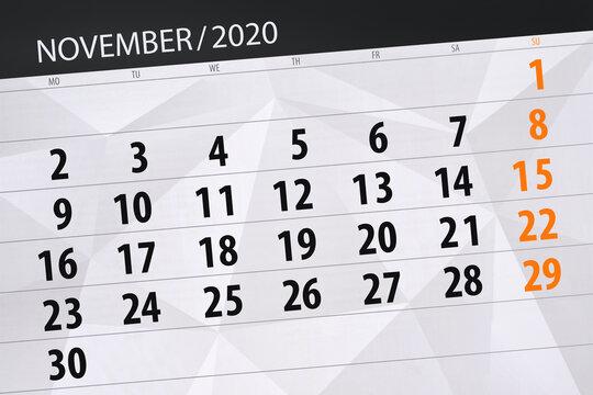 Calendar planner for the month november 2020, deadline day