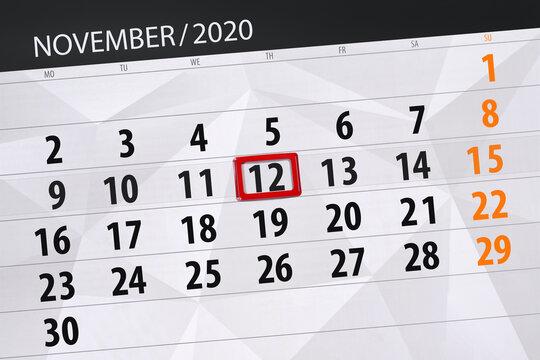 Calendar planner for the month november 2020, deadline day, 12, thursday