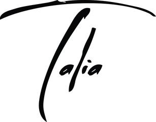 Fototapeta Talia-Female Name Modern Brush Calligraphy Cursive Text on White Background obraz