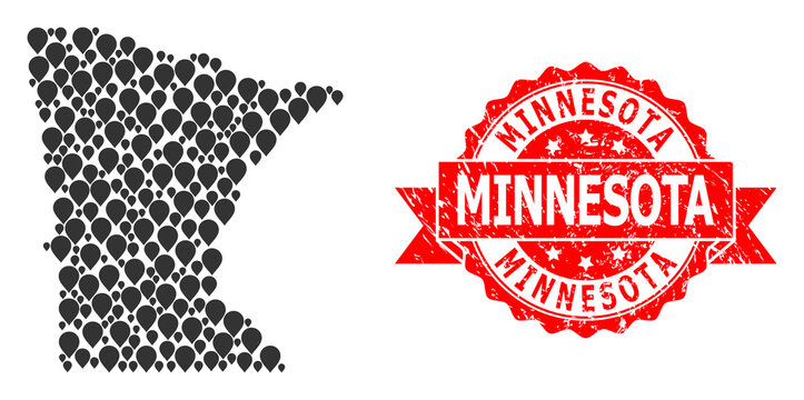 Grunge Minnesota Seal and Pointer Mosaic Map of Minnesota State