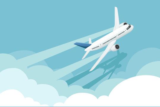 Big white passenger airplane turbine jet plane in blue sunny sky flat vector illustration