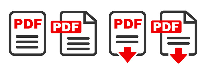Fototapeta Pdf file download icon. The PDF icon. File format symbol flat sign – stock vector