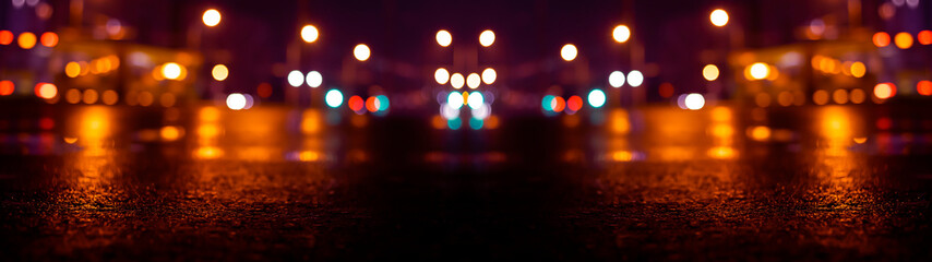 Fotomurales - Wet asphalt, night view, neon reflection on the concrete floor. Night empty stage. Dark abstract background, dark street. Night city after rain, wet surface. Blurred background, night bokeh.