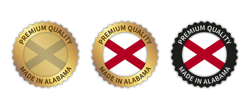 """Set of 3 """"Made in Alabama"""" vector icons. Illustration with transparent background. State flag encircled with gold/black stamp. Sticker/logo for product/website."""