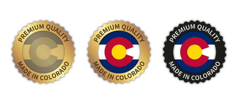 "Set of 3 ""Made in Colorado"" vector icons. Illustration with transparent background. State flag encircled with gold/black stamp. Sticker/logo for product/website."