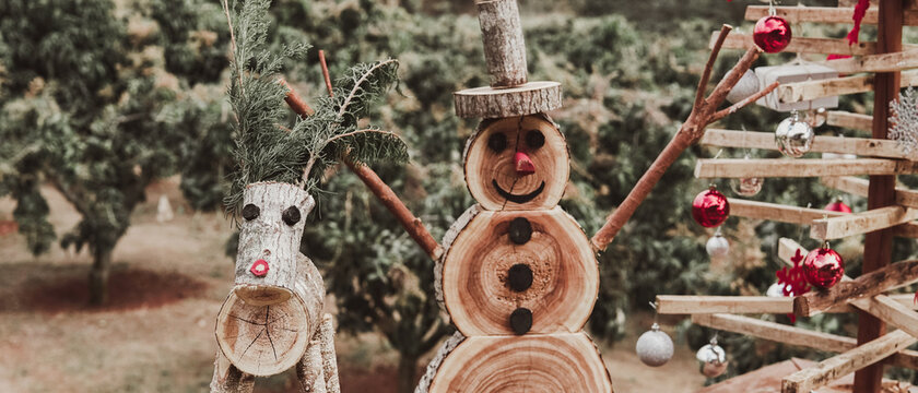 Rustic eco reusable wooden christmas decor rudolph snowman and christmas tree, sustainable festive concept