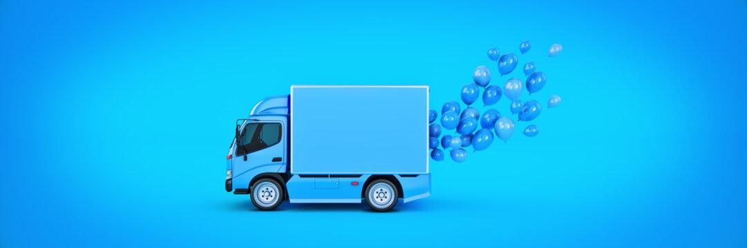 delivery van with balloons. 3d rendering