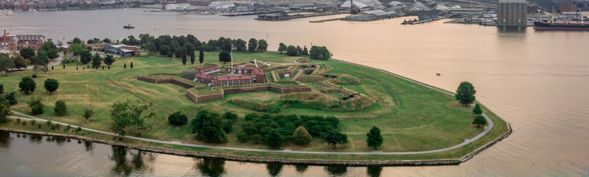 Fort McHenry from the air in Baltimore, legendary fortification from the 1812 war birth place of the national anthem
