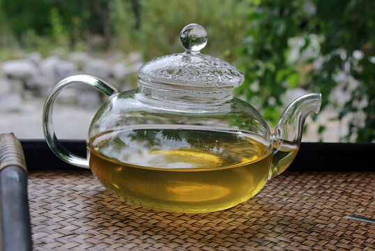 Clear glass teapot with green tea in a garden setting