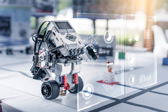 Toy Lego smart robot AI artificial intelligent Stem school kids learning education technology building block creative ideas construction development programming analysis, graphical icons UI screen