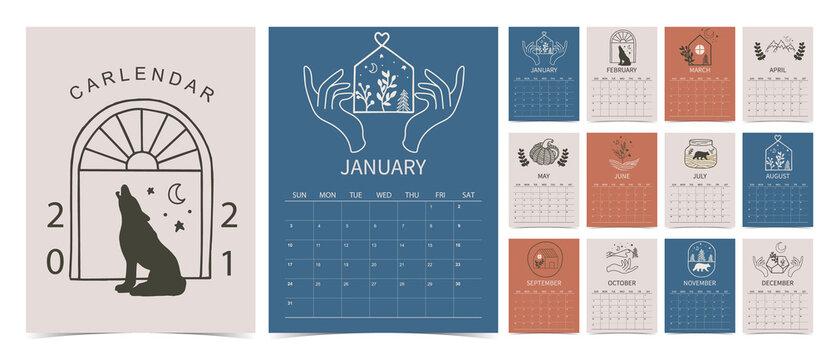 line hand calendar 2021 with flower,animal,mountain,bear,house in boho style